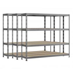 Lot de 3 étagères Rack - 4 plateaux - 220 x 40 cm - charge lourde de marque Modulö Storage, référence: B5505900