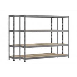 Lot de 2 étagères Rack - 4 plateaux - 220 x 50 cm - charge lourde de marque Modulö Storage, référence: B5506100