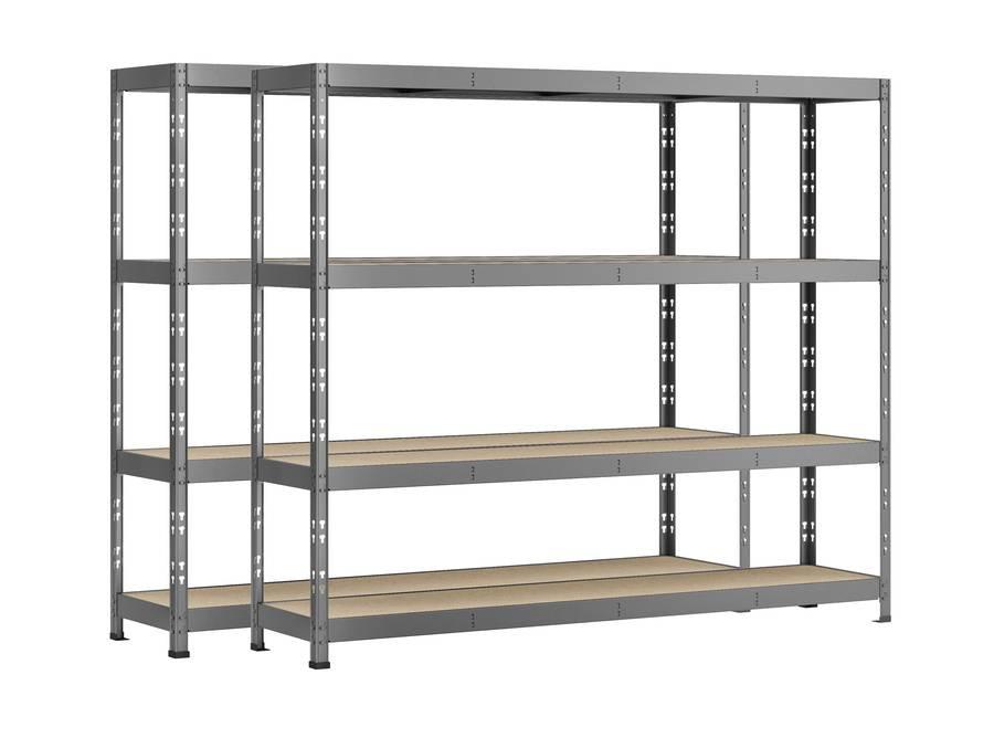 Lot de 2 étagères Rack - 4 plateaux - 220 x 50 cm - charge lourde