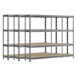 Lot de 3 étagères Rack - 4 plateaux - 220 x 50 cm - charge lourde de marque Modulö Storage, référence: B5506200
