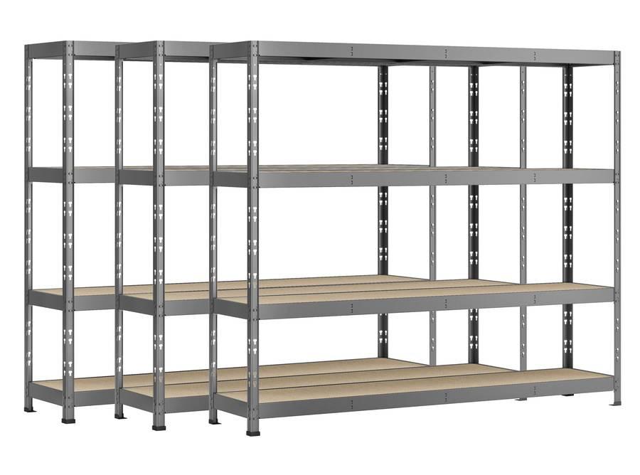 Lot de 3 étagères Rack - 4 plateaux - 220 x 50 cm - charge lourde