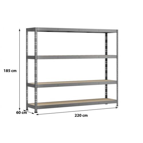 Etagère Rack charge lourde - 4 plateaux - 220 x 60 cm - Modulö Storage