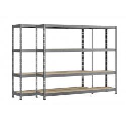 Lot de 2 étagères Rack - 4 plateaux - 220 x 60 cm - charge lourde de marque Modulö Storage, référence: B5506400