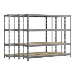 Lot de 3 étagères Rack - 4 plateaux - 220 x 60 cm - charge lourde de marque Modulö Storage, référence: B5506500