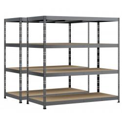 Lot de 2 étagères Rack - 4 plateaux - 220 x 80 cm - charge lourde de marque Modulö Storage, référence: B5506700