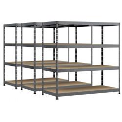 Lot de 3 étagères Rack - 4 plateaux - 220 x 80 cm - charge lourde de marque Modulö Storage, référence: B5506800
