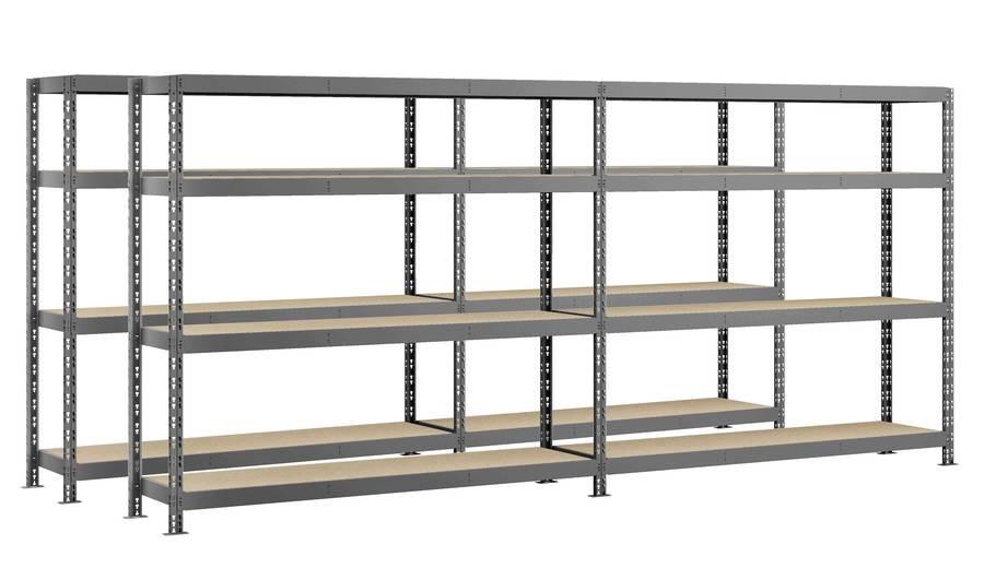 Lot de 2 étagères double Rack MODULÖ - 290 x 50 cm - 8 plateaux