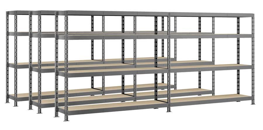Lot de 3 étagères double Rack MODULÖ - 290 x 50 cm - 8 plateaux