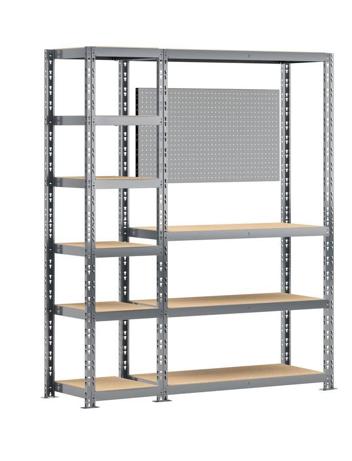 Concept rangement de garage + établi - longueur 150 cm - 10 plateaux