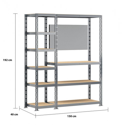 Concept rangement de garage MODULÖ - longueur 150 cm - 10 plateaux - Modulö Storage