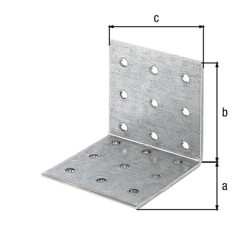 Équerre multi-trous galva zinguée sendzimir 60x60x60