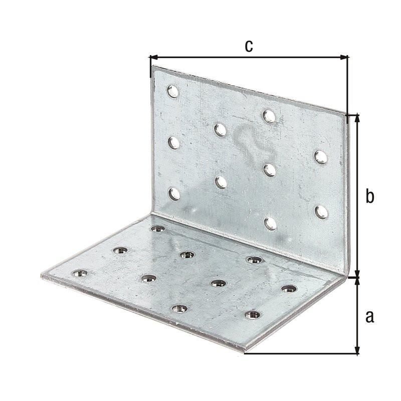 Équerre multi-trous galva zinguée sendzimir 60x60x80