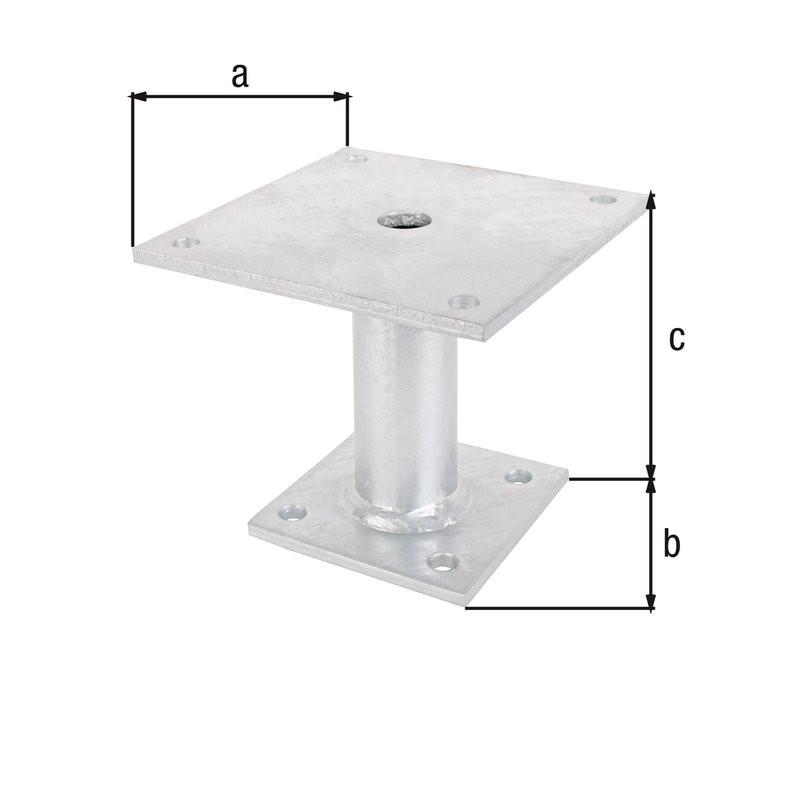 Ancre poteau galvanisée à chaud à cheviller Ø42/150x100
