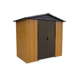 Abri Métal 65WGY - S.H. T. 2,77 m² - H. 189 cm - Marron bois de marque Trigano, référence: J5578000