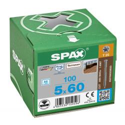 100 Vis Torx autoforeuse 5x60 Spax-deck inox A2 - Terrasse bois éxotique de marque SPAX, référence: B5596500