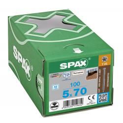 100 Vis Torx autoforeuse 5x70 Spax-deck inox A2 - Terrasse bois éxotique de marque SPAX, référence: B5596600