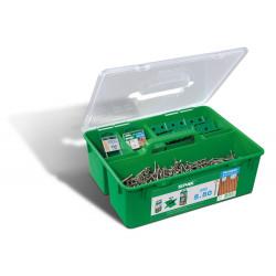 Kit Bois éxotique 5x50 Inox A2 - 850 vis + 1 foret + 12 espaceurs + 5 embouts de marque SPAX, référence: B5596700