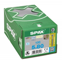 100 Vis Torx tête fraisée autoforeuse 5,0x80 Spax Cut inox A2 - Façade bois résineux de marque SPAX, référence: B5597400