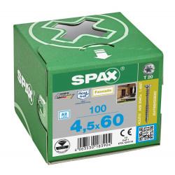100 Vis avec filetage de fixation 4,5x60 Spax façade inox A2 - bois résineux de marque SPAX, référence: B5597500