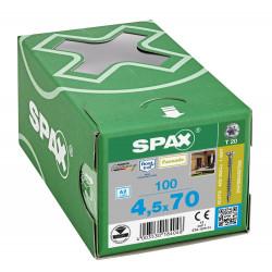 100 Vis avec filetage de fixation 4,5x70 Spax façade inox A2 - bois résineux de marque SPAX, référence: B5597600