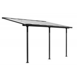 Toit terrasse Alu gris anthracite - S.h.t. 12,83 m² - rideau d'ombrage extensible écru - toile polyester 130 gr/m² de marque HABRITA, référence: J5604500