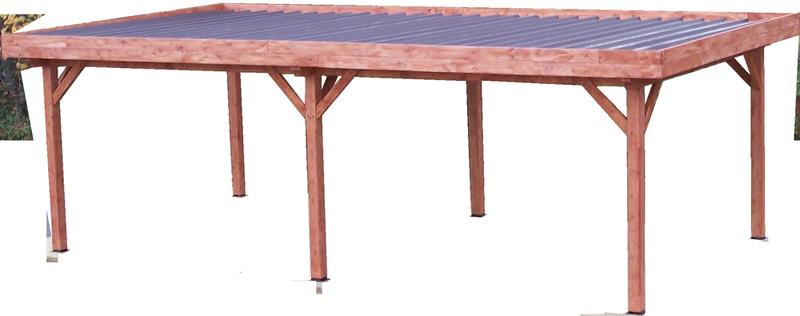 Auvent OMBRA toit plat - S.h.t. : 24,64 m2 - très grandes dimensions couverture bac acier