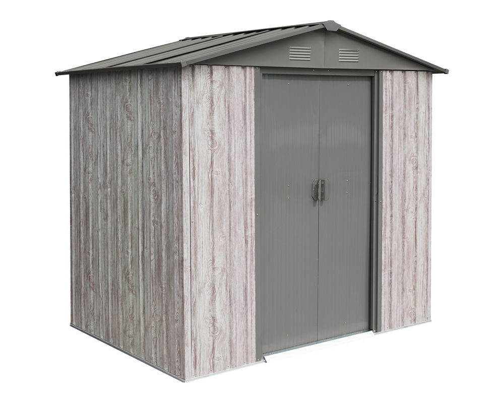 Abri métal 2,54m² WoodTouch - acier galvanisé - kit d'ancrage - aspect bois