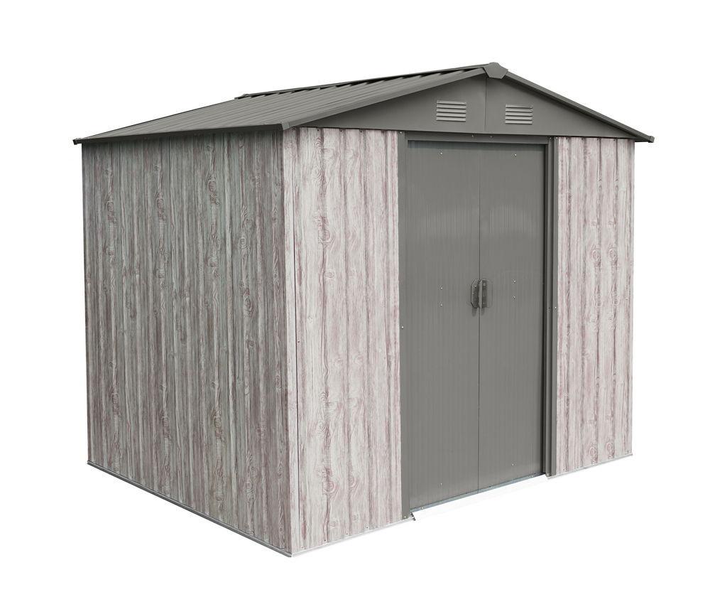 Abri métal 4,1m² WoodTouch - acier galvanisé - kit d'ancrage - aspect bois