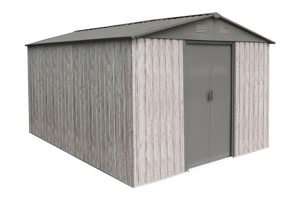 Abri métal 9,12m² WoodTouch - acier galvanisé - kit d'ancrage - aspect bois