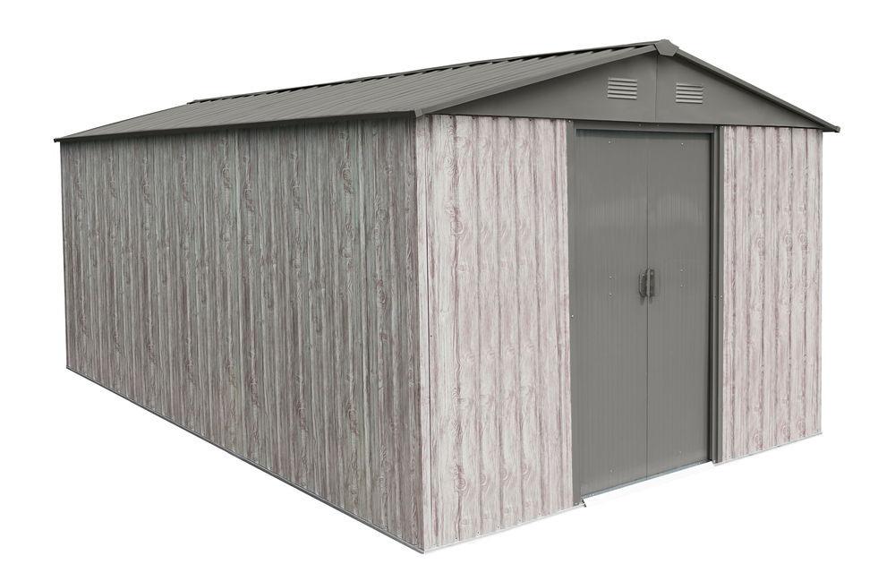 Abri métal 11m² WoodTouch - acier galvanisé - kit d'ancrage - aspect bois