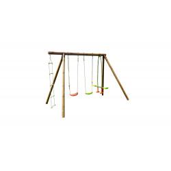 Portique GABIN en bois traité - 3 agrès et echelle - H. 222cm de marque SOULET, référence: J5654300