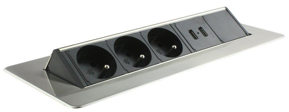 BLOC PRISES PIVOTANT - 3 prises 2P+T - 2 ports USB