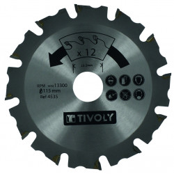Disque à tronçonner de meuleuse pour bois TIVOLY, Diam.115 x 15 x 22.2 mm de marque TIVOLY, référence: B5820900