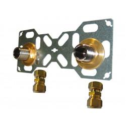 Double sortie de cloison mâle à compression pour tube per, Diam.16 mm 20 x 27 mm de marque QUICK PLOMBERIE, référence: B5823200