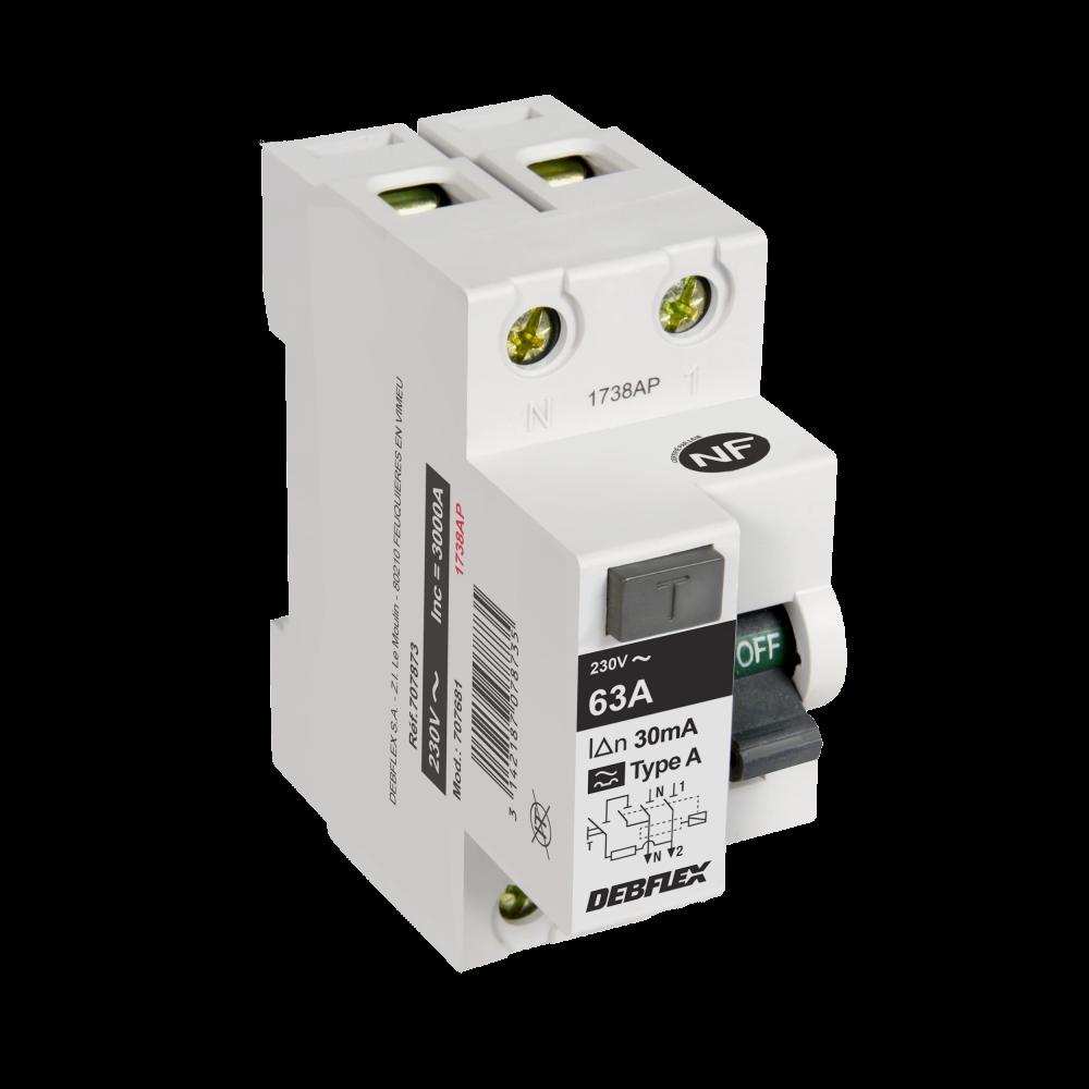 Interrupteur différentiel DEBFLEX, 30 mA 63 A A