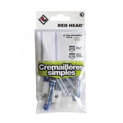 Kit chevilles à verrouillage de forme crémaillère simple RED HEAD, Diam.8xL.50mm de marque Red head, référence: B5878600