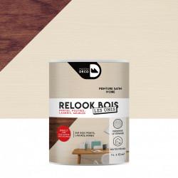 Lasure intérieurepoutre et lambris Relook bois MAISON DECO, ivoire satiné, 1 l de marque MAISON DECO, référence: B5886600
