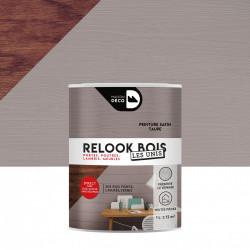 Lasure intérieurepoutre et lambris Relook bois MAISON DECO, taupe satiné, 1 l de marque MAISON DECO, référence: B5886900