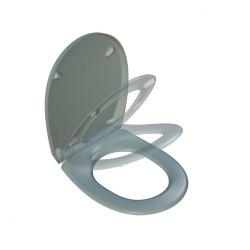 Abattant déclipsable frein de chute plastique thermodur Click & clean gris clair de marque BEMIS, référence: B5920300
