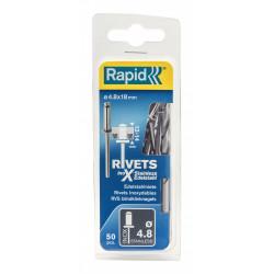 Lot de 50 rivets inox Diam.4.8 x H.18 mm RAPID de marque RAPID, référence: B5934900