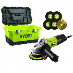 Meuleuse d'angle filaire 125mm RYOBI RAG800-125TA6, 800 W de marque RYOBI, référence: B5958900
