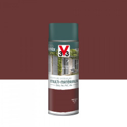 Peinture aérosol Extérieur multi-matériaux V33, rouge basque satiné, 0.4 l de marque V33, référence: B5980600