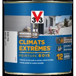 Peinture bois extérieur Climats extrêmes® V33, blanc satiné 0.5 l de marque V33, référence: B5986100