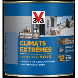 Peinture bois extérieur Climats extrêmes® V33, bleu provence satiné 0.5 l de marque V33, référence: B5986500