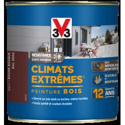Peinture bois extérieur Climats extrêmes® V33, rouge basque satiné 0.5 l de marque V33, référence: B5987400