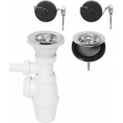 Vidage évier, 2 bacs, communiquant, Diam.60 mm de marque WIRQUIN, référence: B6164100
