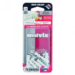 Lot de 10 chevilles et vis à visser minivix RED HEAD, Diam.5 x L.25 mm de marque Red head, référence: B6183400