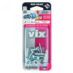 Lot de 10 chevilles et vis à visser vix RED HEAD, Diam.12 x L.30 mm de marque Red head, référence: B6183600