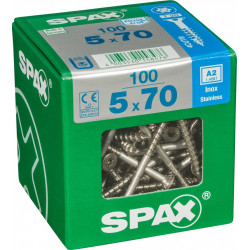 Lot de 100 vis inox tête fraisée torx SPAX, Diam.5 mm x L.70 mm de marque SPAX, référence: B6189000