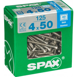 Lot de 125 vis inox tête fraisée torx SPAX, Diam.4 mm x L.50 mm de marque SPAX, référence: B6190100